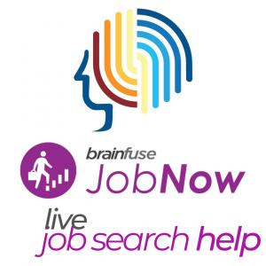 Brainfuse JobNow logo, stylized multicolor human profile