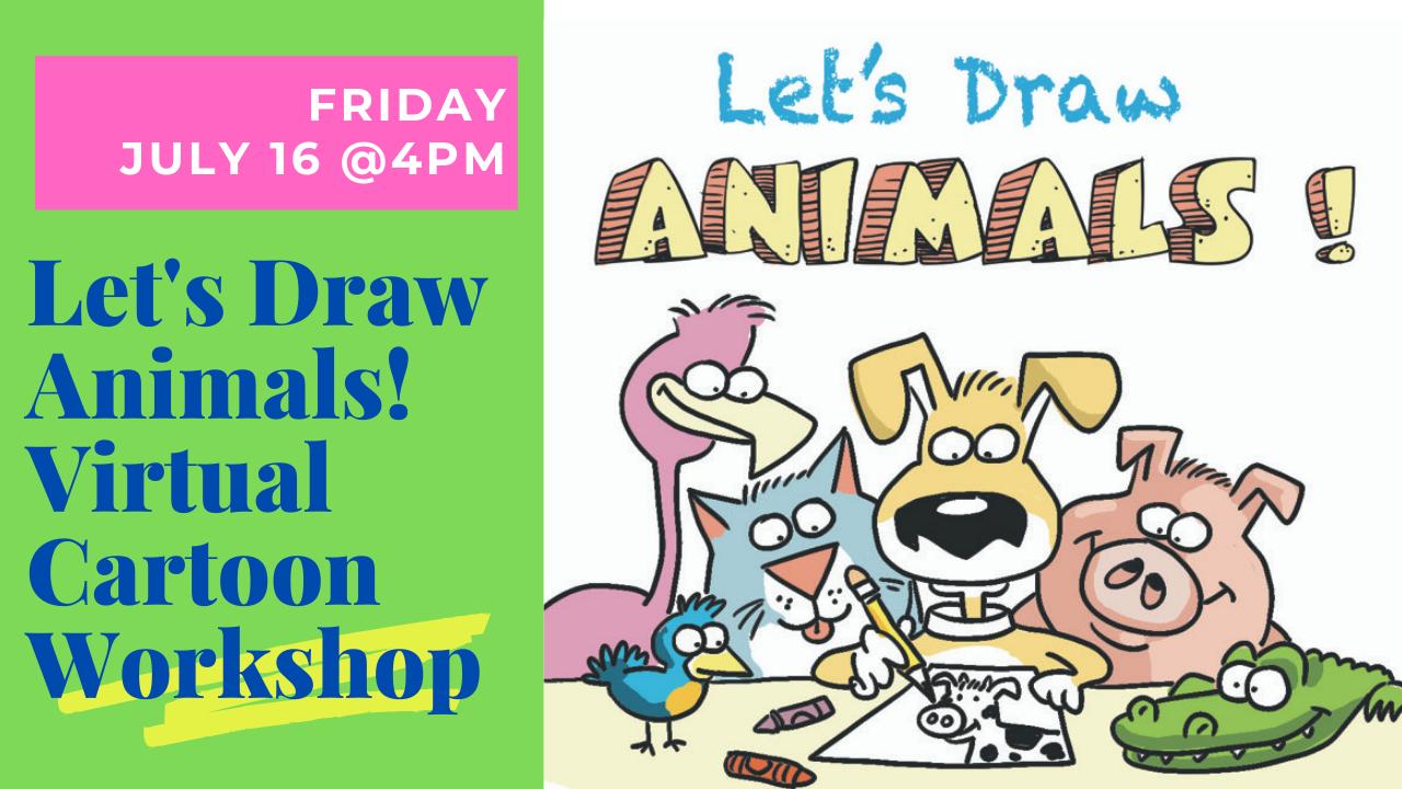 drawing of flamingo, cat, dog, pig, alligator and bird doodling on paper