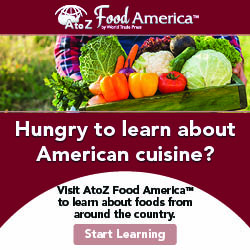 AtoZ Food America logo, pictures of fresh vegetables