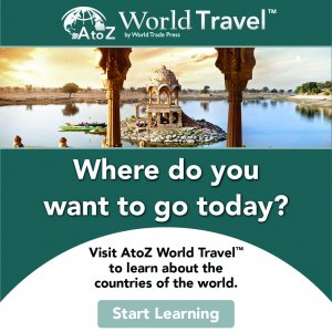 AZ World Travel logo, picture of columns and building in small lake