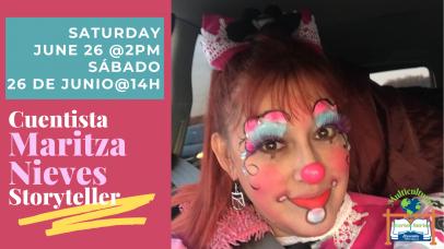 image of performer Maritza Nieves in clown makeup