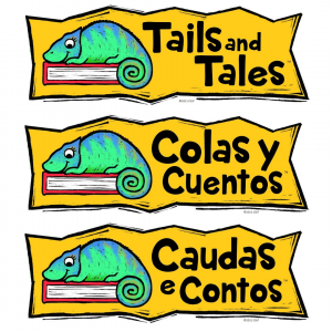 Tails and Tales | Colas y Cuentos | Caudas e Contos Summer reading logo with chameleon and book