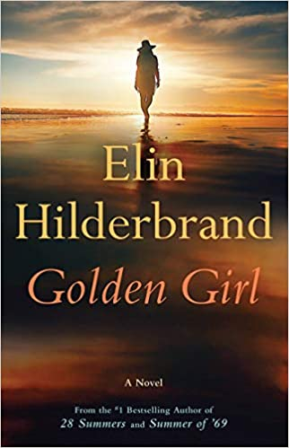 """A book cover with a person walking on the beach titled """"Golden Girl"""""""
