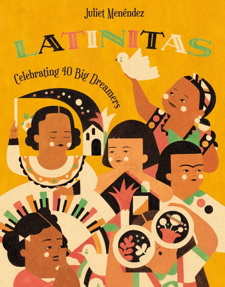 """An orange book cover with children on it titled """"Latinitas: Celebrating 40 Big Dreamers."""""""