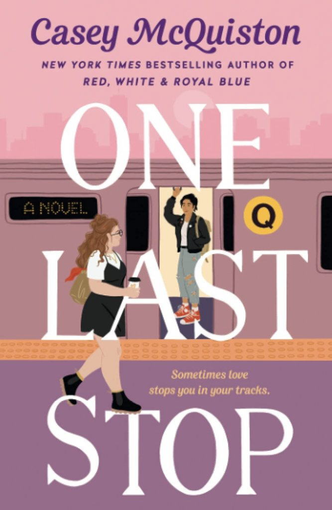 """A pink book cover with two people and a subway train on it, titled """"One Last Stop."""""""