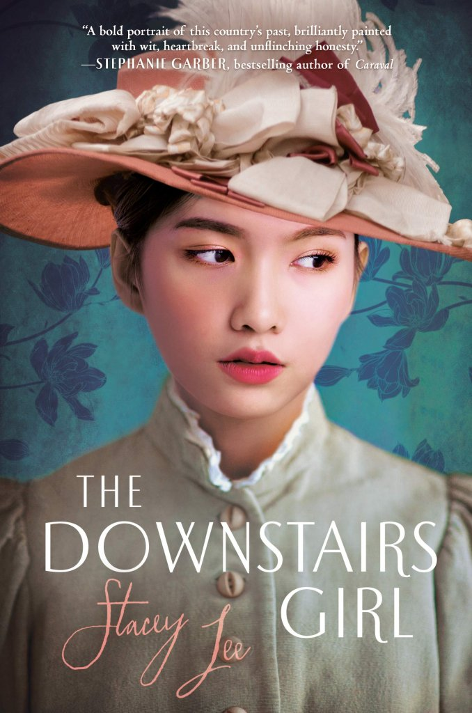 """A book cover of a well dressed woman titled """"The Downstairs Girl"""""""
