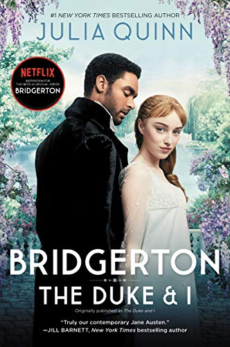 """A colorful book cover with purple lilacs and the two main characters, titled """"Bridgerton: The Duke and I"""""""
