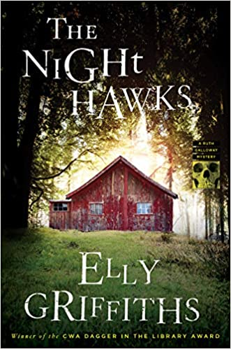 """A book cover with a run-down red cottage in the woods, titled """"The Night Hawks"""""""