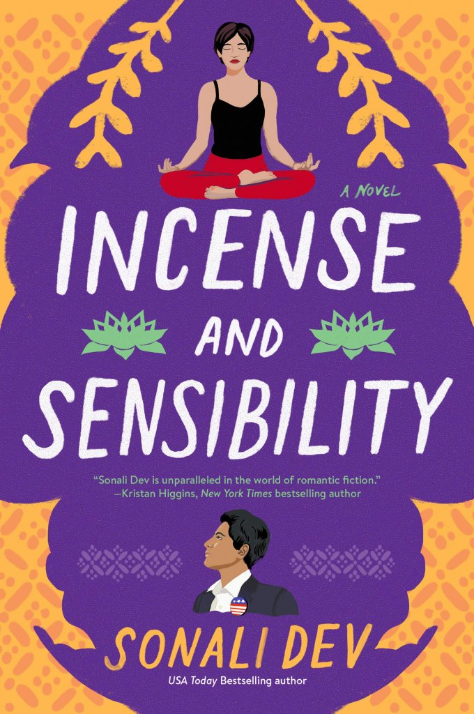 """A purple and orange book cover with a woman doing yoga sitting, titled """"Incense and Sensibility."""""""