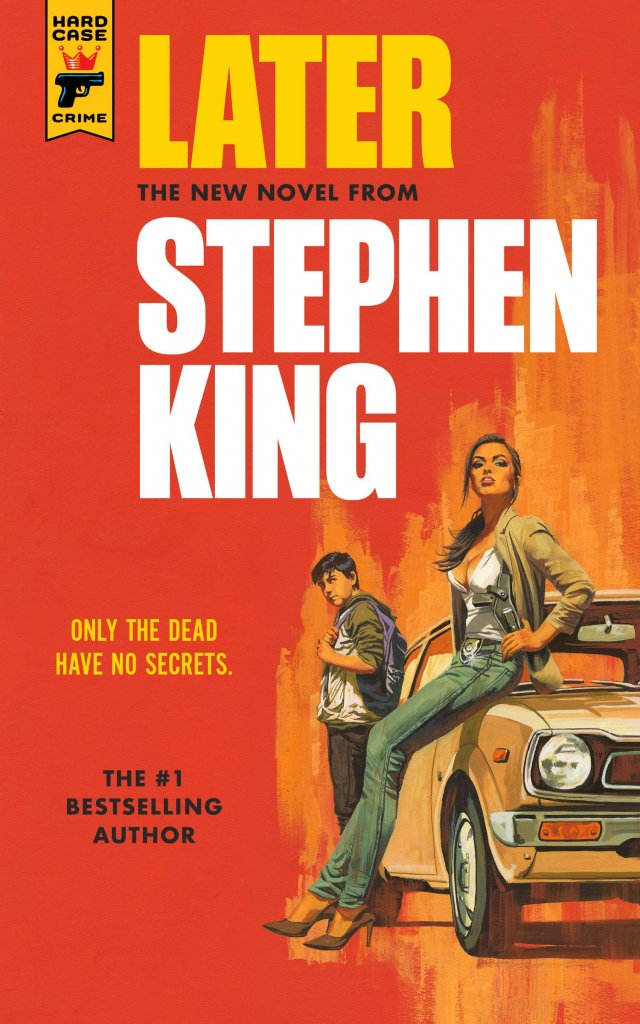 """A red book cover with a woman sitting on a car from the 70s and a young boy wearing a backpack, titled """"Later."""""""