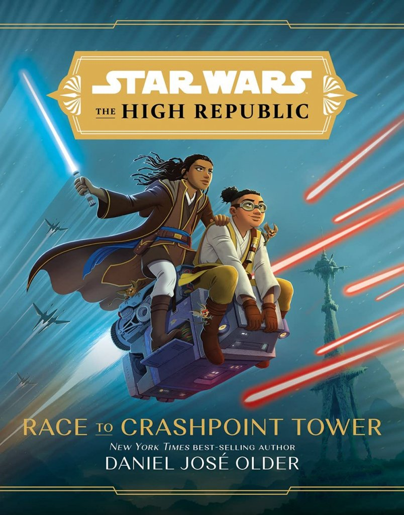 """A blue book cover with two young jedi holding lightsabers on an aircraft, titled """"Race to Crashpoint Tower."""""""