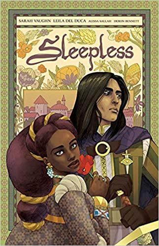 """A book cover with an illustration of a princess and a knight, titled """"Sleepless."""""""