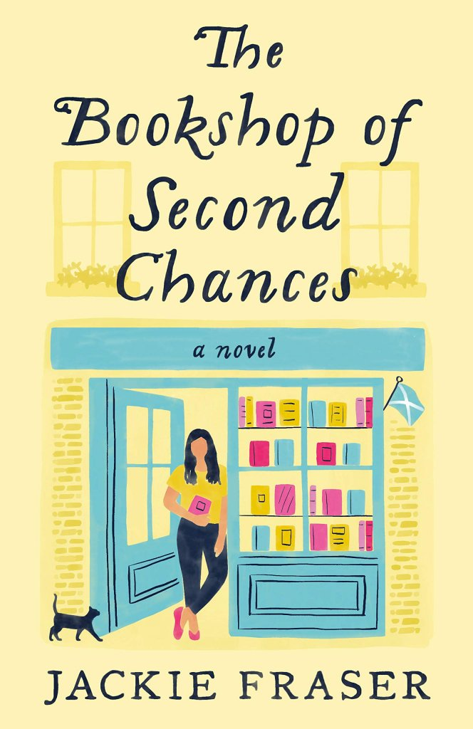 """A yellow book cover with a woman standing in front of a book store, titled """"The Bookshop of Second Chances."""""""