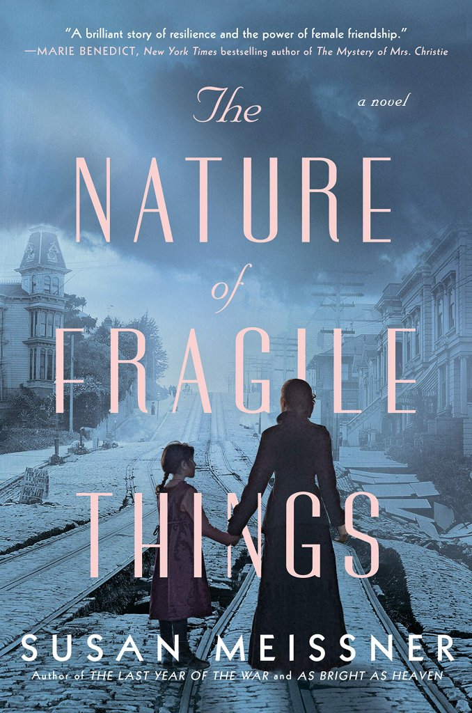 """A book cover with a woman holding a girl's hand, titled """"The Nature of Fragile Things."""""""