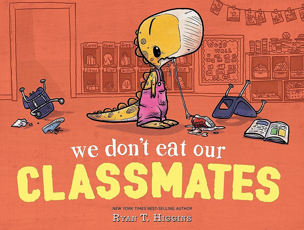 """An orange book cover with a small dinosaur that has a shoelace poking out of its mouth, titled """"We Don't Eat Our Classmates."""""""