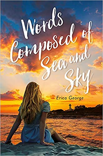 """A book cover with a girl sitting on the sea shore watching a bright orange sunset, titled """"Words Composed of Sea and Sky."""""""