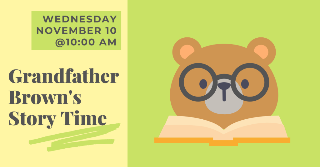 A pastel yellow and green banner with a bear wearing glasses reading a book