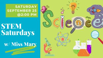 """Colorful banner that says """"STEM Saturdays"""""""