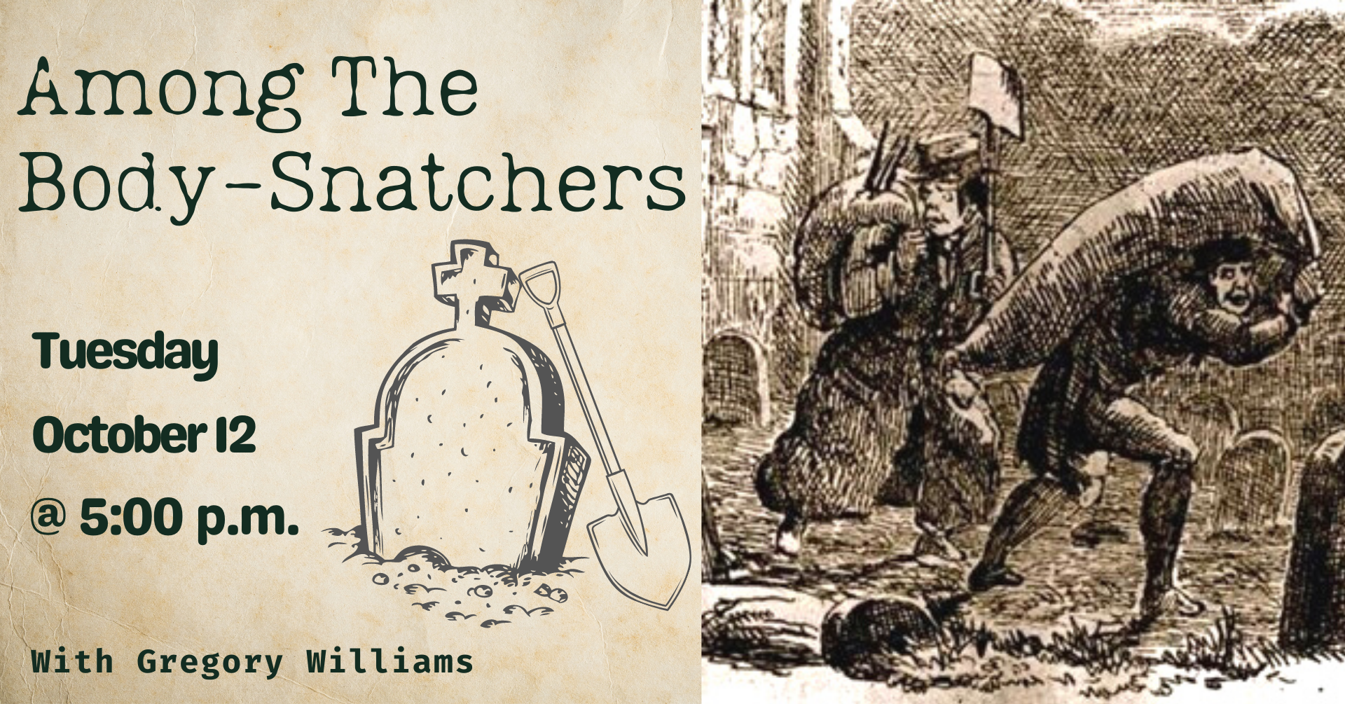 An image of two grave robbers carrying a large sack.