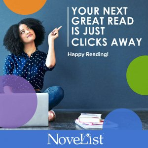 """Image woman sitting pointing to text """"Your next read is just clicks away"""""""